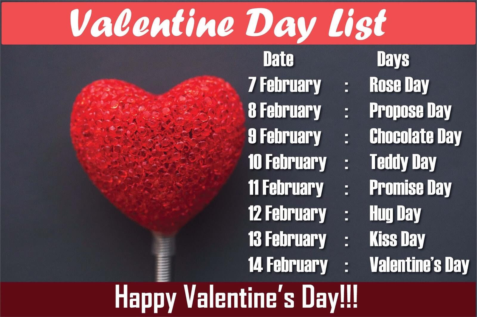 Valentine day Week List 2017